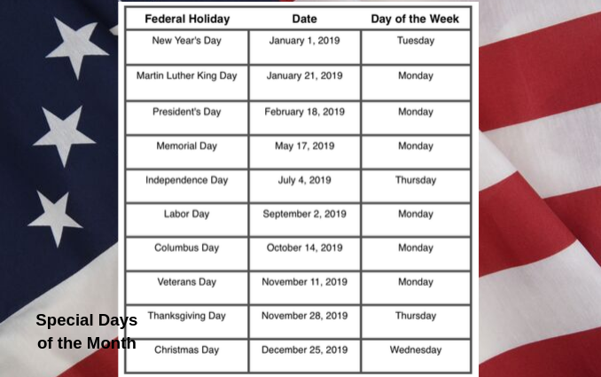"""2019 Federal Holiday Schedule"""
