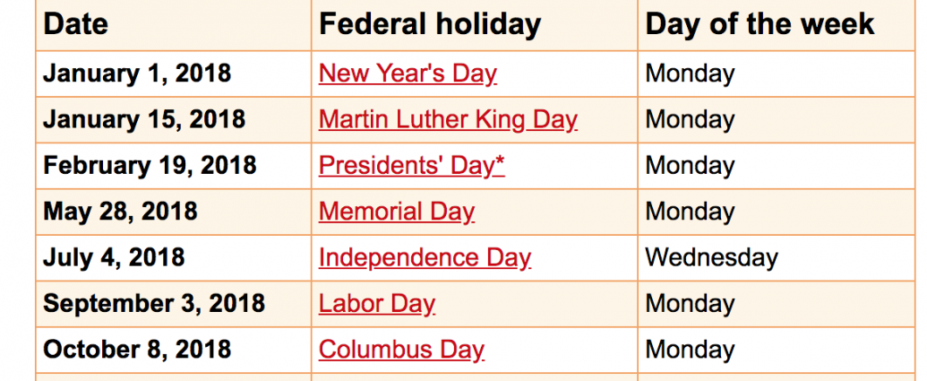 Calendar Holidays.Federal Holiday Schedule Special Days Of The Month